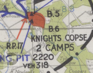 Knights Copse shown on a map of Marshalling Area B. The red area shows where troops were camped.