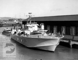 A Motor Torpedo Boat at Vospers' yard in Portchester.