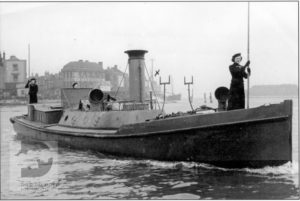 The Steam Picket Boat from HMS Vernon crewed by members of the Women's Royal Naval Service.