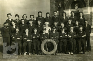 A group of Wrens - members of the Women's Royal Naval Service - photographed at HMS Excellent during the Second World War.