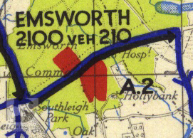 Emsworth shown on a 1944 map of Marshalling Area A. The red areas show where troops were camped.