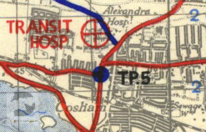 Queen Alexandra Hospital shown on a 1944 map of Marshalling Area A.