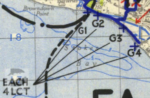 Stokes Bay shown on a 1944 map of Marshalling Area A.