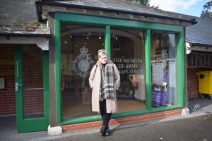 Picture of Miranda Tempest standing outside the Museum of Army Chaplaincy.