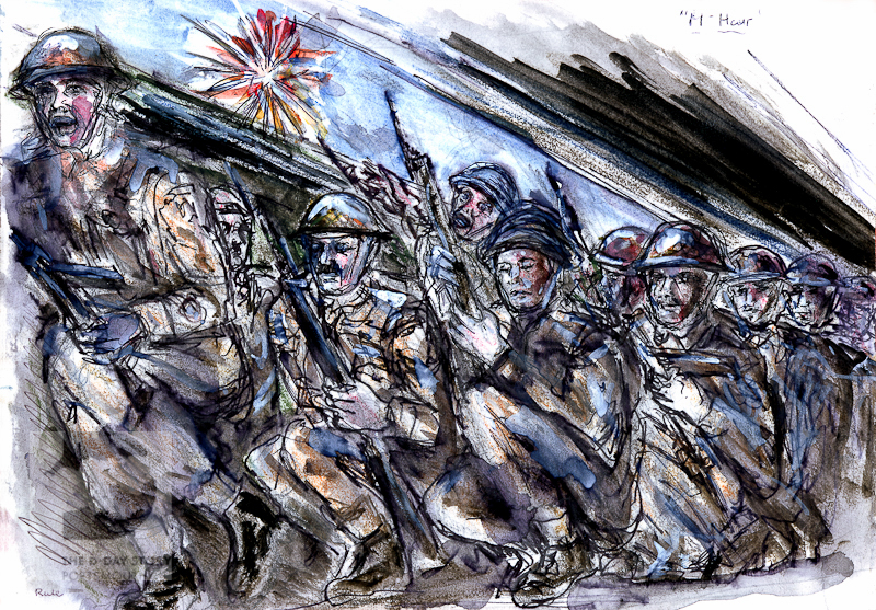 A drawing by Robert Rae Rule showing British troops inside a Landing Craft, Assault (LCA) shortly before they are due to land on D-Day.