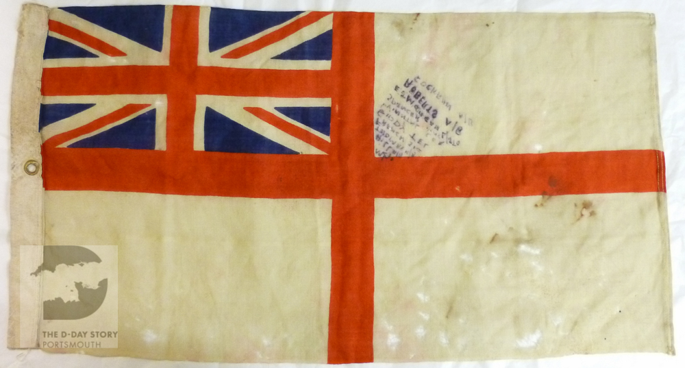 A white ensign from Motor Launch 136, which operated off Gold Beach. It belonged to Royal Navy veteran Ted Morgan who served on board at the time of D-Day.