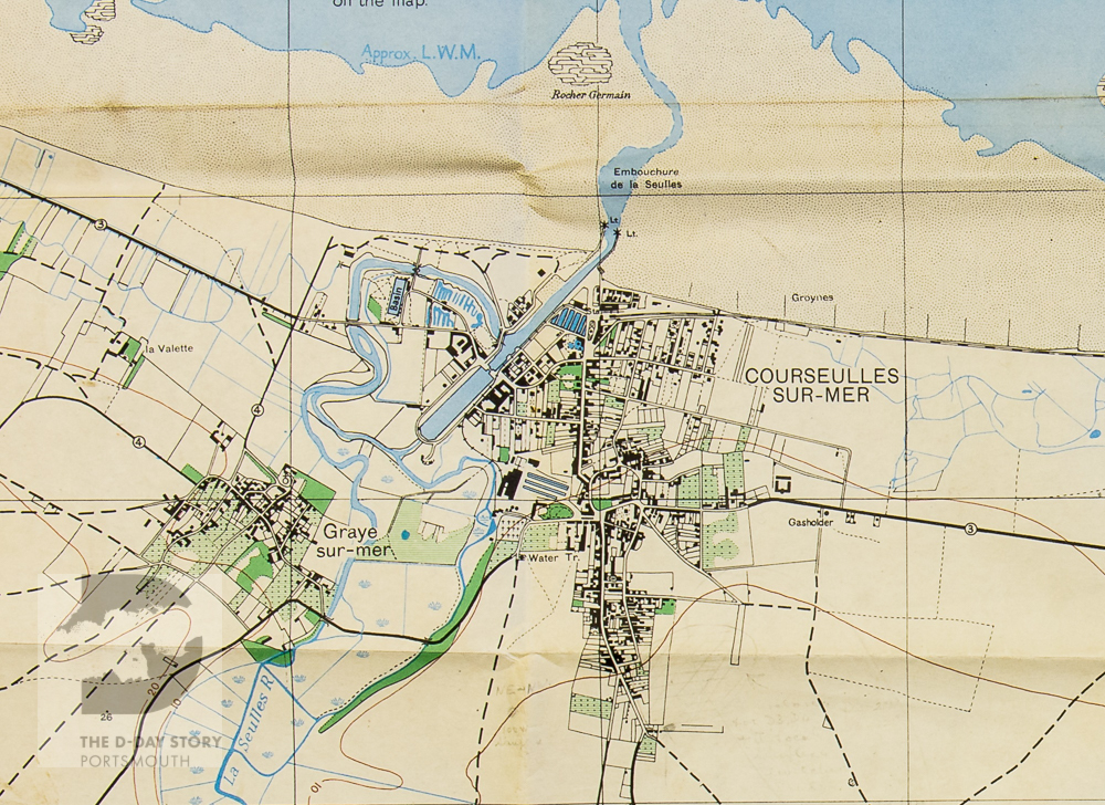 A detail of an Allied map showing the small port of Courseulles. This was one of the sites that the Canadians captured on D-Day.