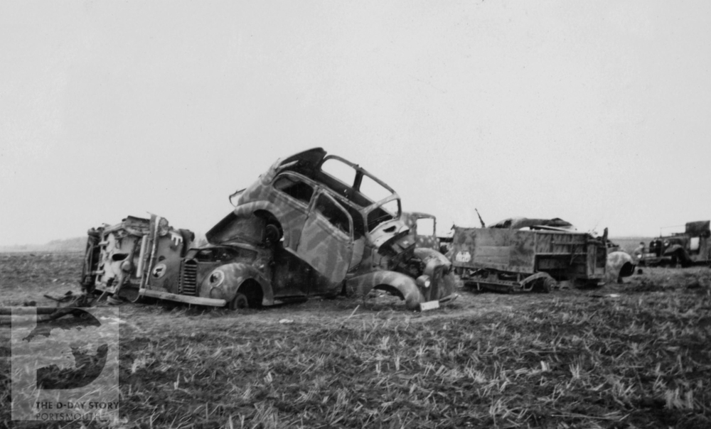 Wrecked German military vehicles that have been destroyed by Allied aircraft during the fighting to close the Falaise Pocket.