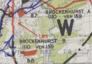 Brockenhurst A and B shown on a map of Marshalling Area B. The red areas show where troops were camped.