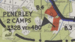Penerley shown on a map of Marshalling Area B. The red areas show where troops were camped.