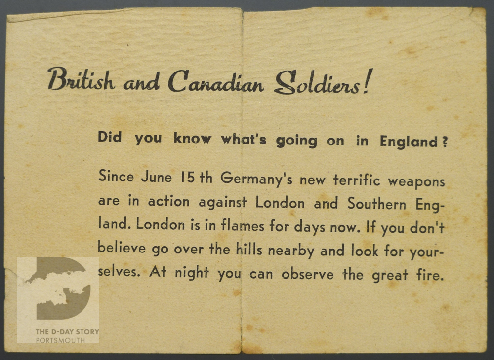 German forces dropped this propaganda leaflet from the air in Normandy. It aimed to demoralise British soldiers by describing the damage that V-1 flying bombs were said to be inflicting on the south of England.