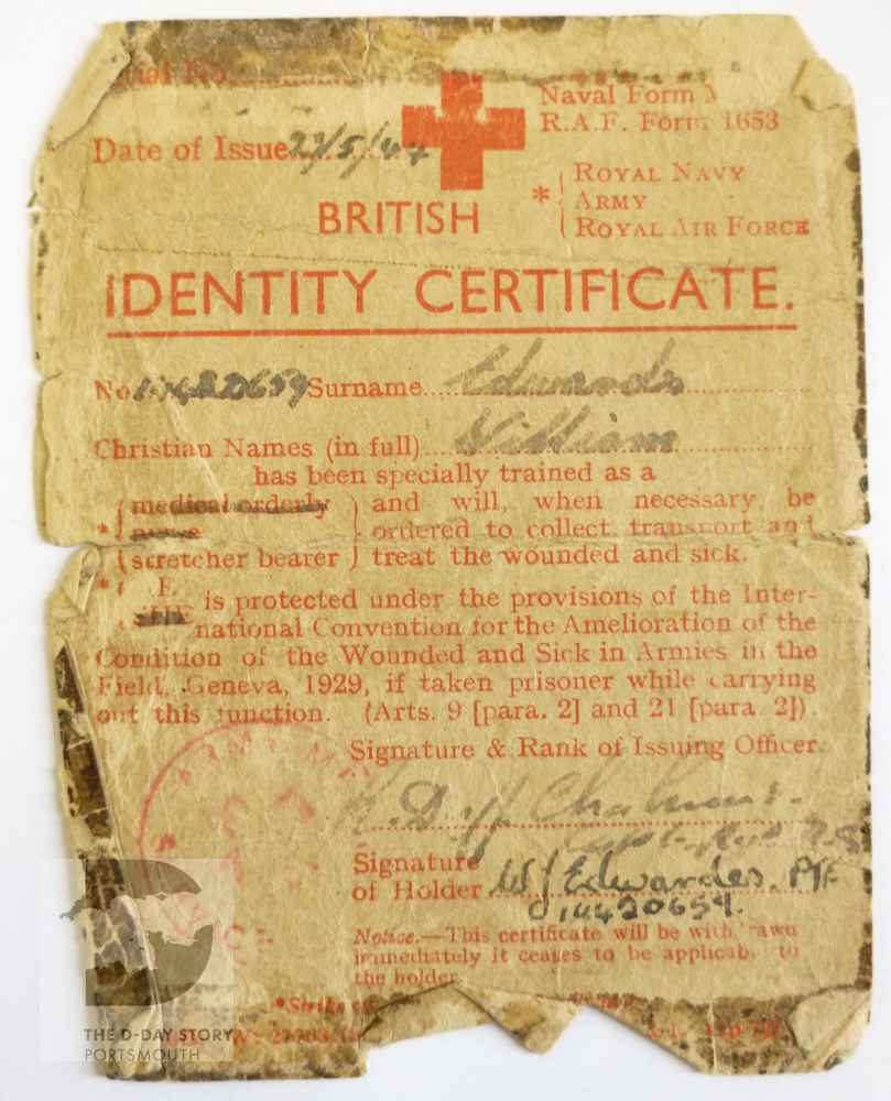 Private Bill Edwardes carried this certificate during the Battle of Normandy. He was serving as a stretcher-bearer with 1st Worcesters. It states that he had protection under the Geneva Convention while carrying out this work.