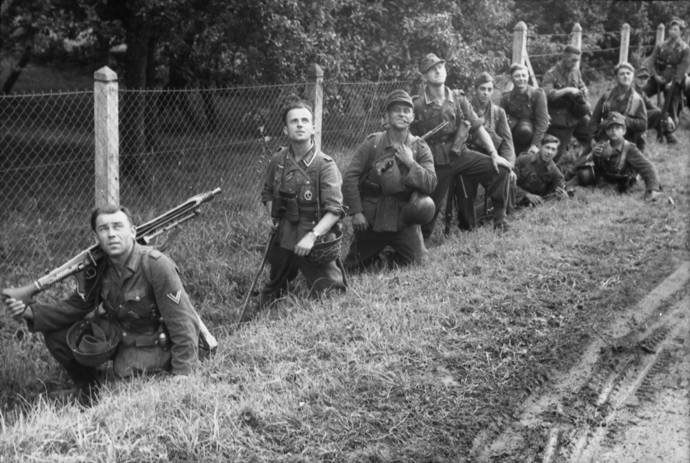 German troops in Normandy watch for Allied aircraft, June 1944.