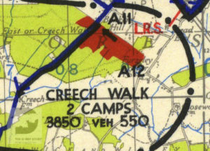 Creech Woods shown on a map of Marshalling Area A. The red areas show where troops were camped.
