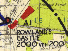 Rowlands Castle shown on a 1944 map of Marshalling Area A. The red areas show where troops were camped.