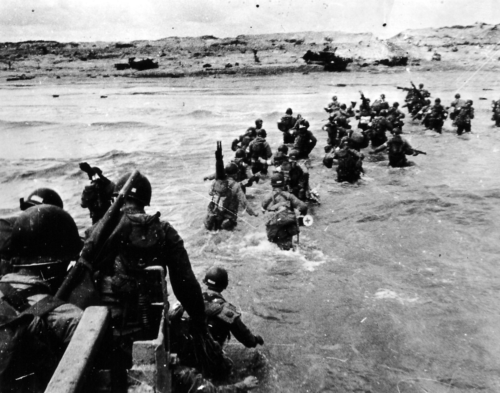 US troops land on Utah Beach on D-Day.