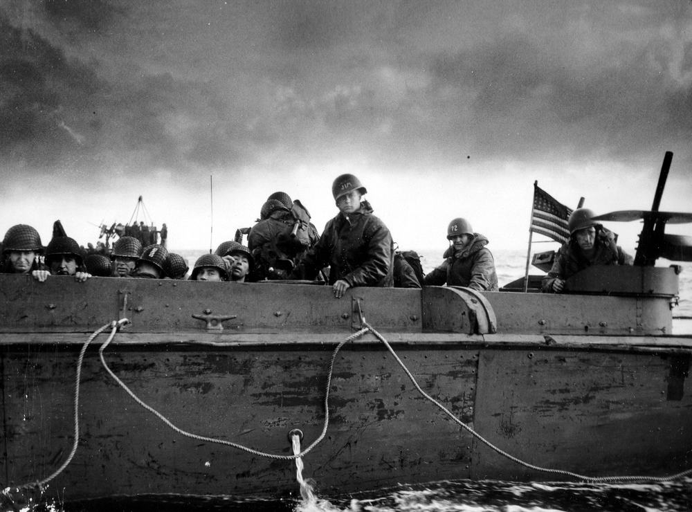A landing craft carries US troops to Utah Beach on D-Day.