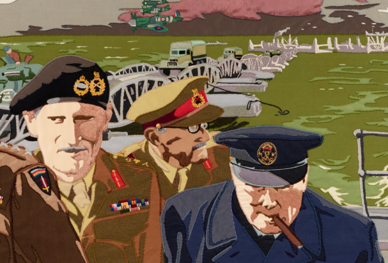 General Sir Bernard Montgomery ('Monty'), Field Marshal Sir Alan Brooke, and Winston Churchill feature on panel 28 of the Overlord Embroidery.