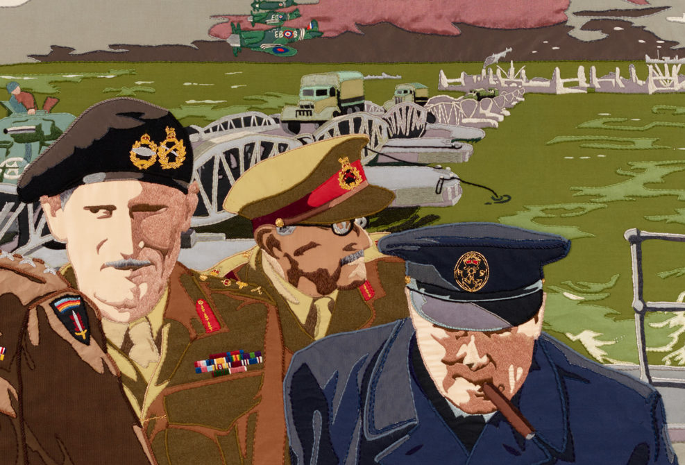 General Sir Bernard Montgomery ('Monty') and Winston Churchill featured on panel 28 of the Overlord Embroidery.