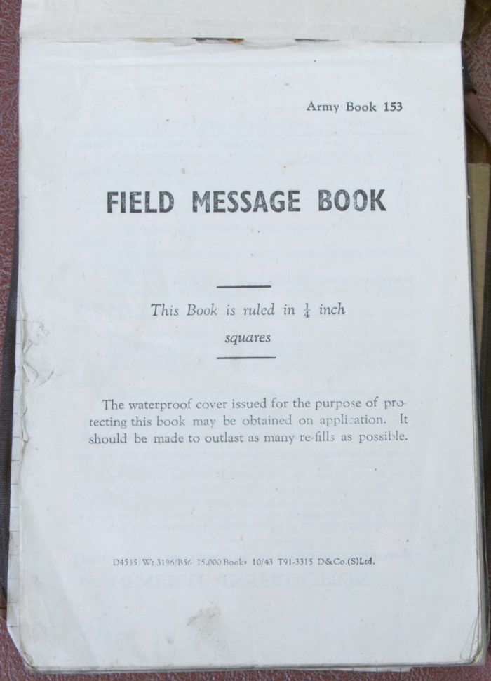 Picture of the title page of a book used for messages by Reverend Douglas