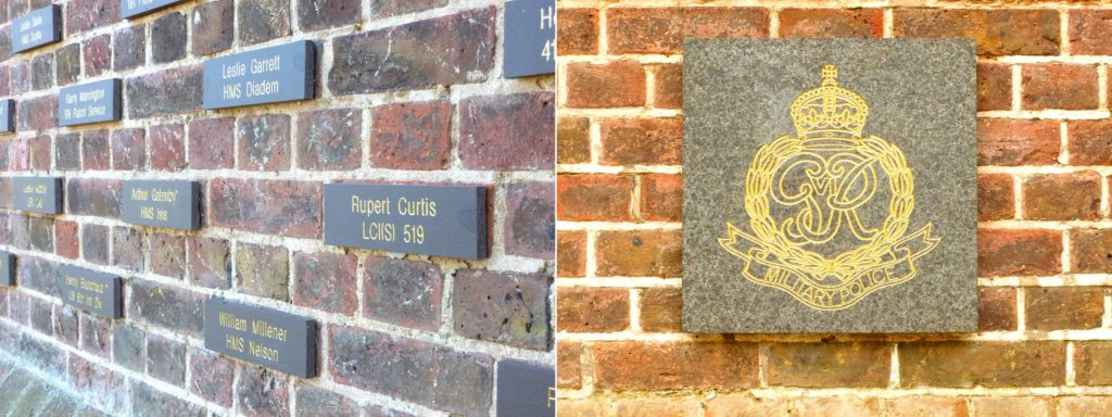 Normandy Memorial Wall bricks and unit badge plaque