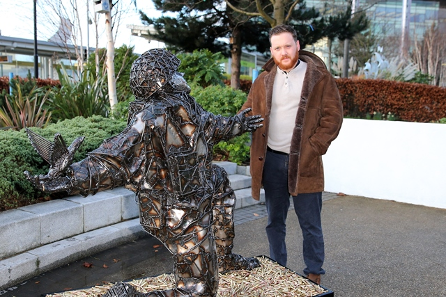 Soldier of Sacrifice with sculptor Alfie Bradley