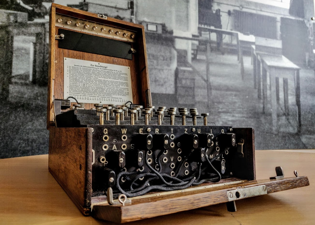 A photograph of the Enigma machine from Bletchley Park museum