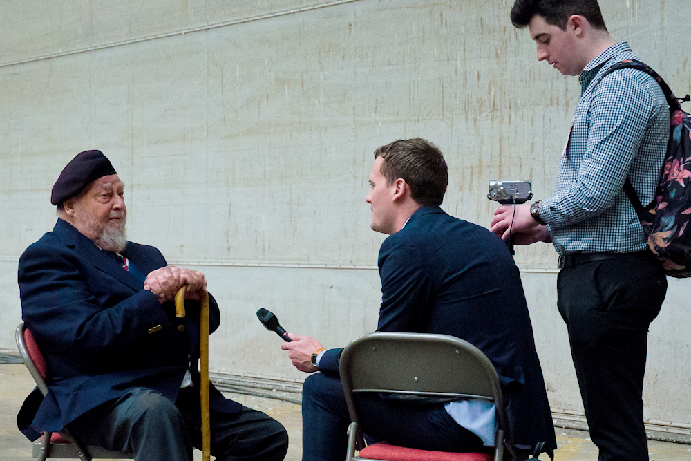 Filming veterans for The D-Day Story's personal testimonies