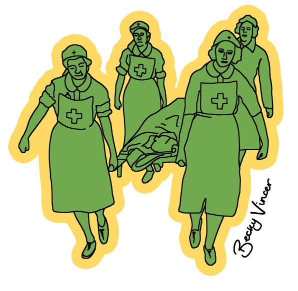 Illustration of WW2 nurses