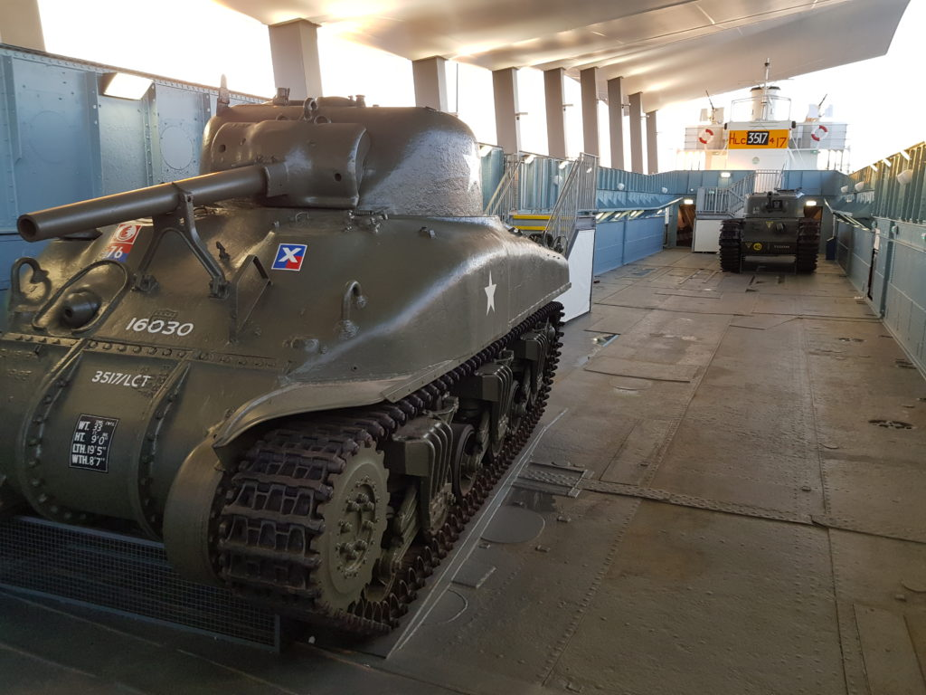 The LCT 7074 tank deck, with Sherman tank in foreground, Churchill tank in background.