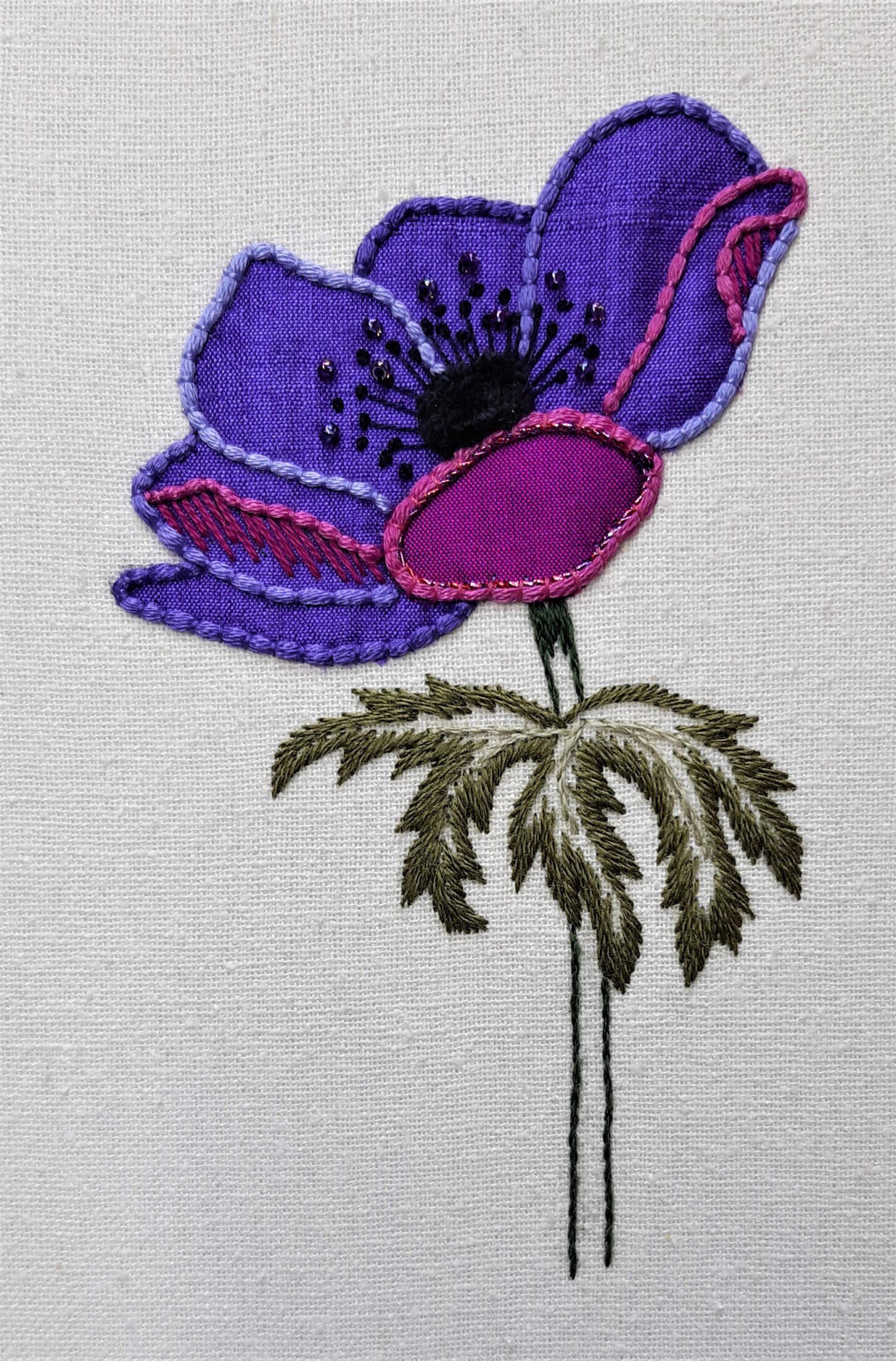 Appliqué Anemone de Caen embroidery class